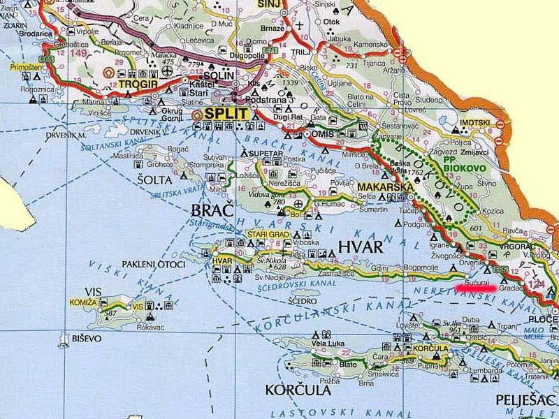 dalmacija mapa Apartmani Hrvatska   Otok Brač   Davor Krtalić   Dalmatinac dalmacija mapa